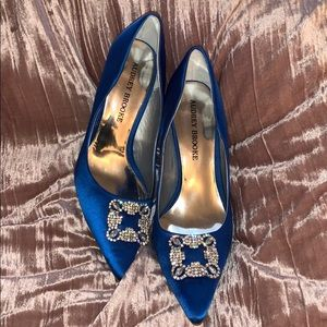 Audrey Brooke Blue Satin Heels. Size 8